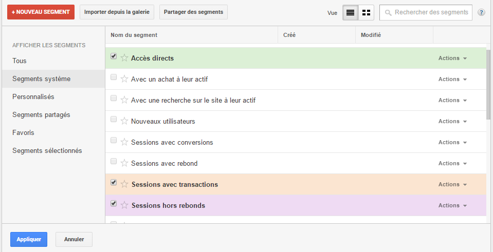 segment Google analytics- segments systèmes