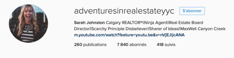 Sarah JOHNSON, l'agente canadienne qui récolte 6000 followers