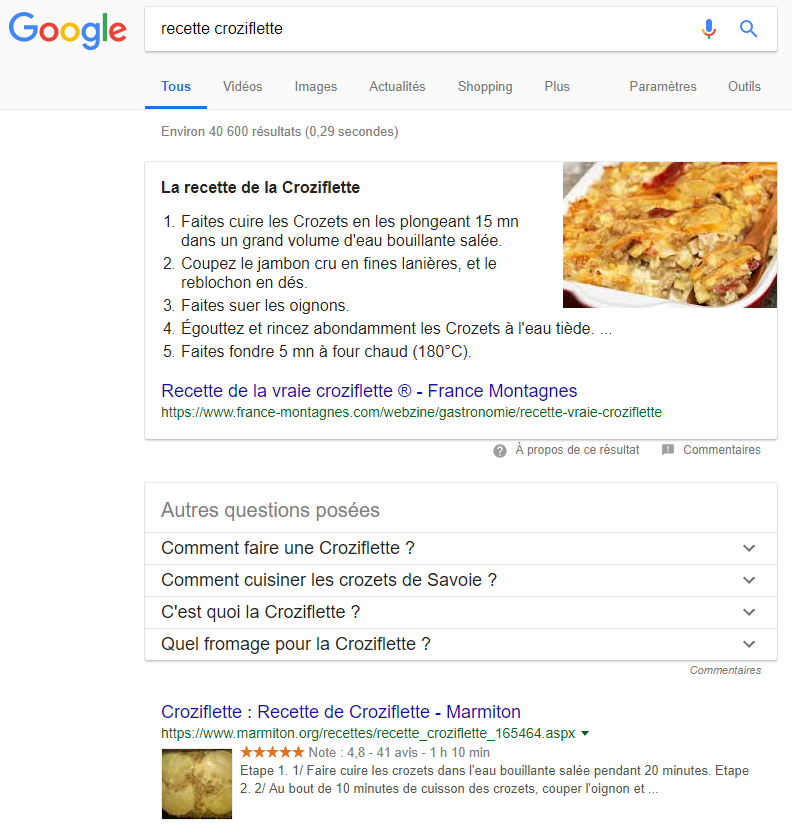position zéro google featured snippets